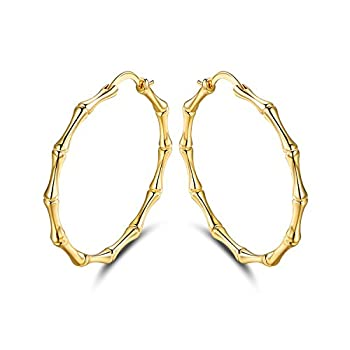 Gold Bamboo Hoop Earrings for Women | Barzel 18k Gold Plated Womens Hoop Earring  Gold