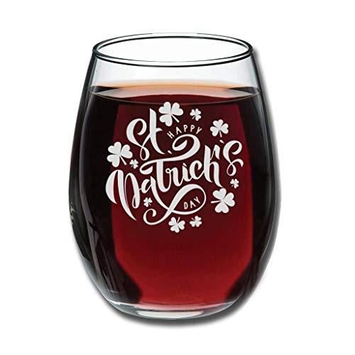 Copa de vino tinto – Día de San Patricio Premium grabado taza buena mano especial decoración blanca 350 ml