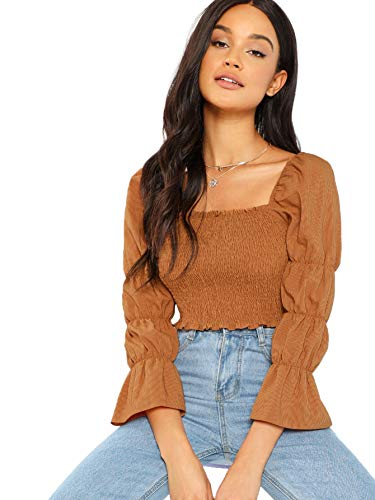 Floerns Women's Square Neck Puff Sleeve Shirred Blouse Crop Top A Brown L