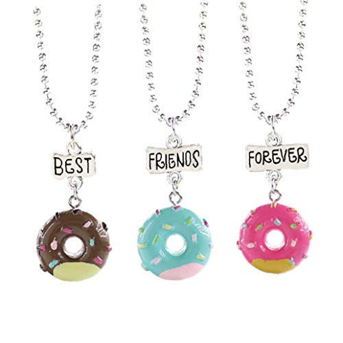LAVALINK 3pcs/set Donut Necklace Choker Necklaces Round Ice Cream Pendant Choker Gifts for Women Girls Jewellery