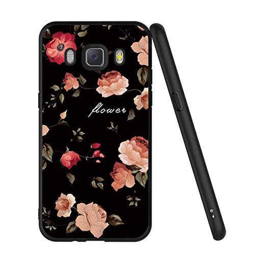 ZhuoFan Funda Samsung Galaxy J5 2016 Cárcasa Silicona Ultrafina Negra con Dibujos Diseño Suave TPU Gel Antigolpes de Protector Piel Case Cover Bumper Fundas para Movil Samsung J510, Las Flores