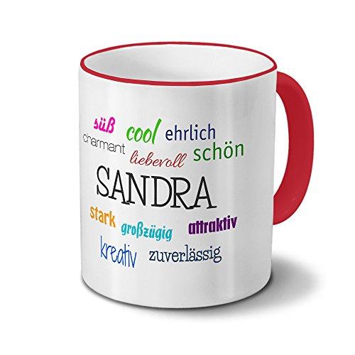 printplanet Tasse mit Namen Sandra - Positive Eigenschaften von Sandra - Namenstasse, Kaffeebecher, Mug, Becher, Kaffeetasse - Farbe Rot