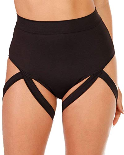 iHeartRaves Badd Girl High Waisted Harness Booty Shorts (Black, 1X)