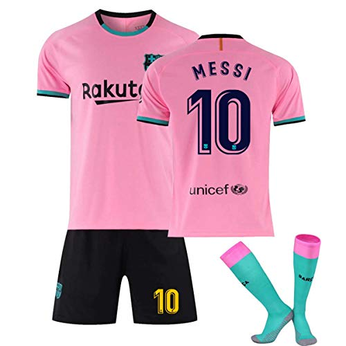 Yushoe Men's Barcelona Shirts Soccer Jerseys Sports Team Training Uniform Shorts Set, Barcelona Jersey Soccer Men T-Shirt 2020-2021 Shirt FC Shirts,Pink no 10,XL
