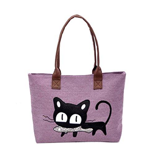 Kolylong® Neue Art und Weise Frauen-Schulter-Beutel-Segeltuch-Tasche Nette Katze (Lila)