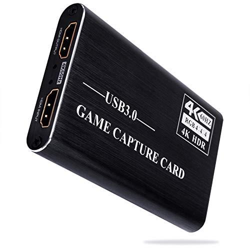 Tarjeta de Captura de Juegos USB3.0 Tarjeta de Captura de Video HDMI 4K 1080P Convertidor Portátil a 60 fps, para Grabación de Video Transmisiones en Vivo en Tiempo Real