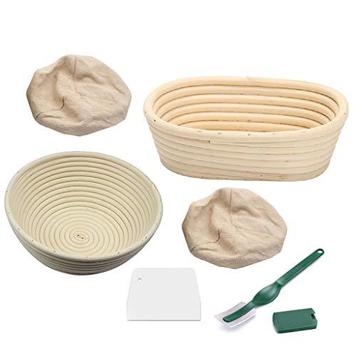 Banneton 2 Gärkörbchen Aus Peddigrohr, Gärkorb Für Brot Und Brotteig, Mit Teigschaber Leineneinsatz, Rund Oval