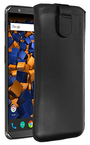 mumbi Echt Ledertasche kompatibel mit OnePlus 5T Hülle Leder Tasche Hülle Wallet, schwarz