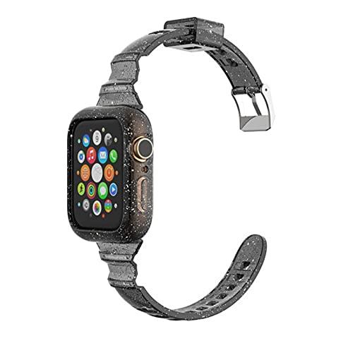 FYWWJ Correa de silicona delgada para Apple Watch Series 6, 5, 4, 3, 2, 1, SE, transparente, 38, 40 mm, para iWatch Accesorios 40, 44 mm, negro, 38, 40 mm