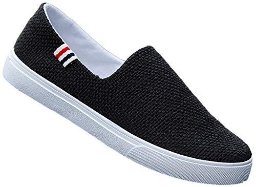[Miracroute] 無駄のない足元 シンプル キャンバス スリッポン メンズ スニーカー ファッション シューズ スポーツ カジュアル ローカット 靴 (ブラック, measurement_26_point_5_centimeters) ウォーキング
