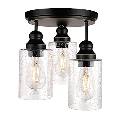 3-Light Industrial Semi Flush Mount Ceiling Light, Vintage Light Fixture with Clear Seeded Glass Shade, Ceiling Lighting for Kitchen, Dining Room, Bedroom, and Entrance Way, Bulb Not Included
