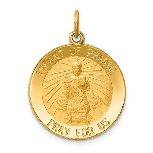 DIAMOND2DEAL da donna in oro giallo 14K bambino di Praga medaglia ciondolo