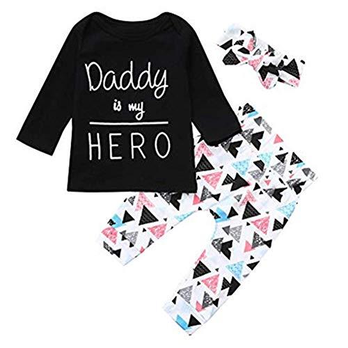 Eternali Daddy is My Hero Letter Drucken Kind Mädchen Junge Kinderkleidung Outfits Set Newborn Toddler Infant Baby Girls Boys Papa ist Mein Held Letter Print Tops Headband Pants Hose Babybekleidung