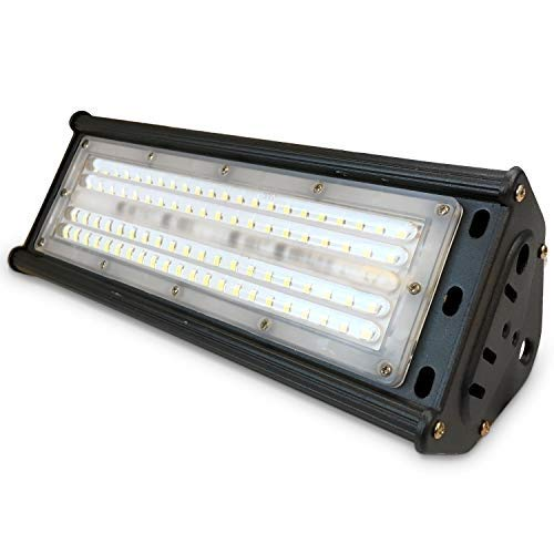 LED Hallenstrahler, 120°, robustes Gehäuse, IP44 geschützt, Hallenleuchte, ideal für Arbeitsumgebung in Industriehallen (neutralweiß 4500K, 50W)