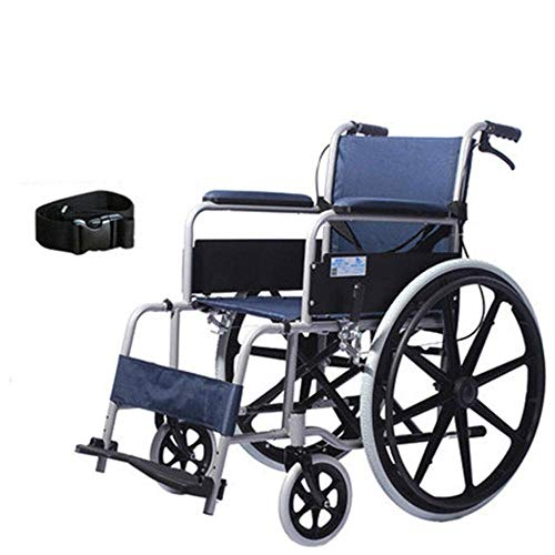 XSSD001 Ouderen, Rolstoel voor gehandicapten Vouwen Draagbare Rolstoel, Afneembaar, Draagbaar, Rolstoel, Tall Handle Aluminium Rolstoel, Drie Verstelbare Pedalen, Massieve banden, Blauw, A
