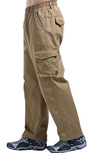 Men's Cargo Thick Full Elastic Waist Band Casual Workwear Pants Yellow 38