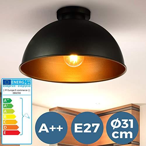Deckenleuchte mit Lampenschirm - EEK A++ bis E, LED, E27, 60W, IP20, rund, Ø 31 cm Metall, Schwarz, Gold - Deckenlampe mit Lampenschrim für Wohnzimmer, Schlafzimmer im Retro Vintage Design