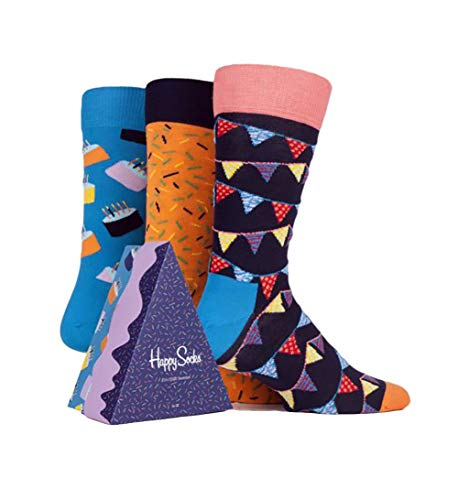 Happy Socks Unisex Happy Birthday Cake Gift Box Set, Three Pairs of Crew Socks