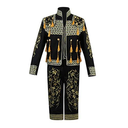 12222 Trajes de Góticos de Viento de Estilo Europeo para Hombres,Abrigo Chaqueta gótica Borla Botón de Bordado Abrigo Traje Uniforme Militares Outwear (Tops + Pantalones + Chaleco)