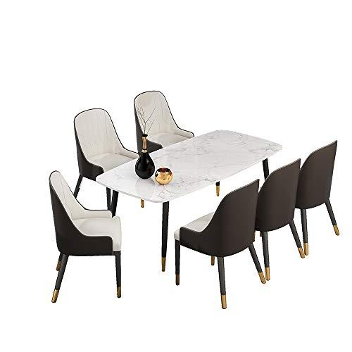 XBSD rechthoekige keuken eettafel, marmeren tafel, en stoelen metalen poten, theetafel, kantoor, conferentie, voetstuk bureau, wit.