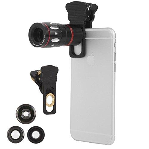 Ivation - Kit di obiettivi universali per smartphone per iPhone 6/6 Plus e tutti gli smartphone, teleobiettivo 10x, obiettivo fisheye, macro, obiettivo grandangolare, colore: Nero