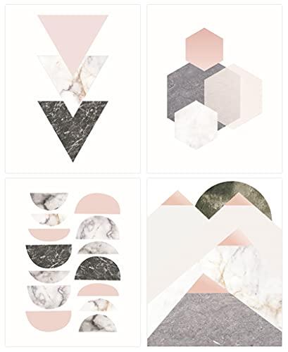 ANHUIB Juego de 3 Cuadros Pared Moderno,Acuarela Geometría Pósteres para la Sala de...