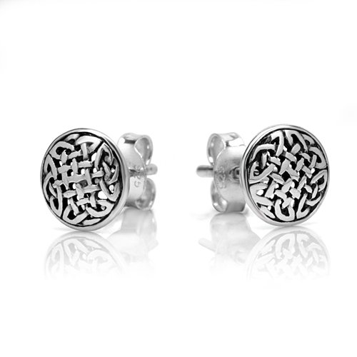 925 Oxidized Sterling Silver Tiny Circle Celtic Knot 8 mm Post Stud Earrings