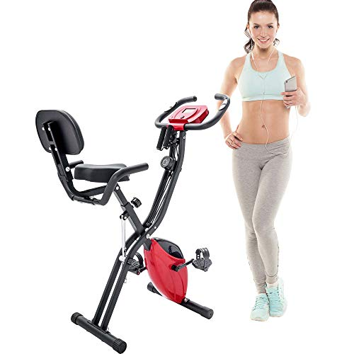 Merax Folding Exercise Bike, Fitness Upright and Recumbent X-Bike with 10-Level Adjustable Resistance, Arm Bands and Backrest (Red)