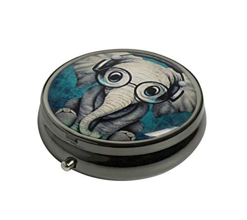 PTCRMG Image Custom Unique Round Pill Box Case Tablet Pocket Purse Travel Pill Decorative Box Case Holder (Elephant - B)