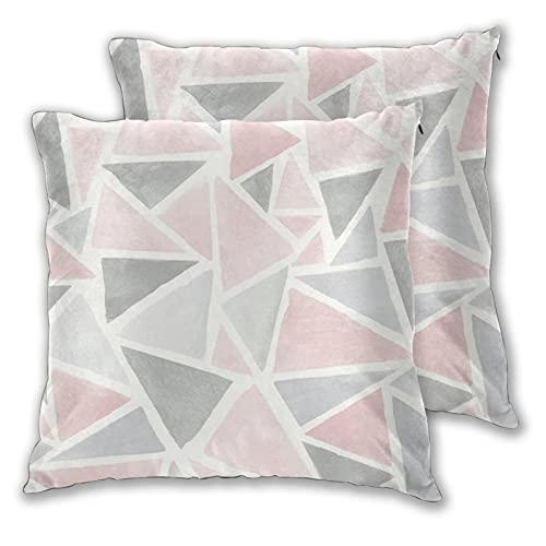 Juego de 2 fundas de almohada geométricas de color rosa, gris, con purpurina decorativa en dos lados para sofá, cama, sala de estar, 45,7 x 45,7 cm
