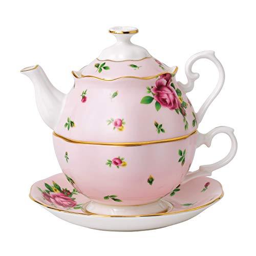 0.49 La Royal Albert Porcelain Tea Party New Country Rose Ros'Ensemble teiera e la Tazza di tè per Un Insieme 1 Bianco