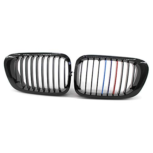 HFDDF Front Ridney Grill, para 3 Series E46 1998 1999 2000 2001 4 Puertas 323 325 Accesorios para automóviles 1pair Gloss Black M Style Grille,M Color