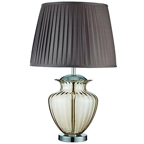 Tischlampe Bernstein Glas Urn / braun Verdunkelungsplissee - Searchlight 8531AM