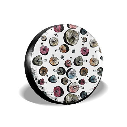 Usting Tire Cover, Zonbescherming En Regen Bescherming Band Cover, Gepersonaliseerde Tire Cover,Paddestoel Madness,(4 Maten Optioneel)