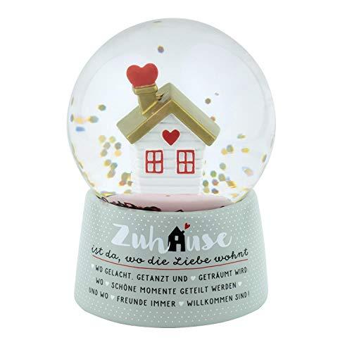 Die Geschenkewelt 46190 Traumkugel Zuhause ist da wo die Liebe wohnt, 9 cm Schneekugel, Mehrfarbig, Höhe