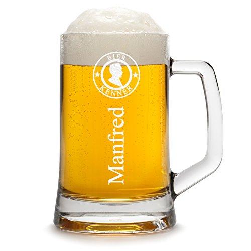 polar-effekt Bierkrug Personalisiert mit Gravur eines Namens - Bierseidel Geschenk zum Geburtstag Geschenkidee - Motiv Bier-Kenner 0,5l