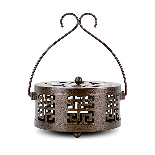 Retyion Retro Portable Mosquito Coil Holder with Handle Iron Fireproof Incense Burner for Home/Outdoor (Bronze)