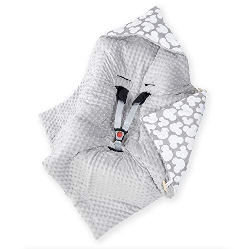 Amilian Manta envolvente para bebé, saco de dormir, manta con capucha, universal para portabebés, asiento de coche, cochecito de bebé, aprox. 90 x 90 cm, algodón, manta para coche B08