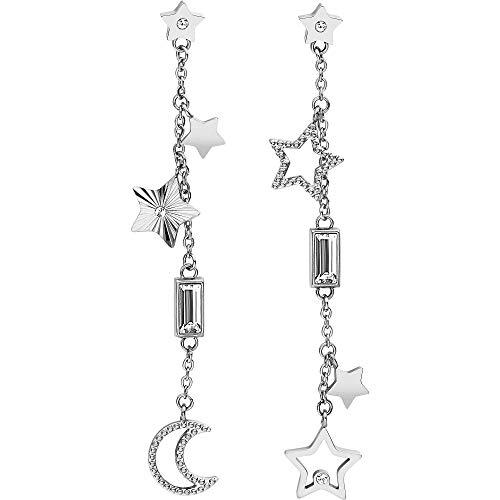 Orecchini pendenti in acciaio 316L con stelle e luna e cristalli Swarovski©Elements. bah21