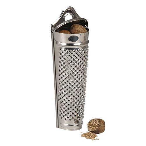 KitchenCraft Spice / Nutmeg Grater with Container, Stainless Steel