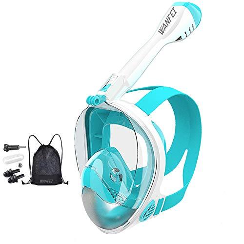 WANFEI Máscara de Buceo, 180° Máscara de Snorkel Doble Vía Aérea Panorámica Gafas Buceo de Cara Completa Gafas de Bucear Anti-Niebla y Anti-Fugas, Apoyo Camara Deportiva para Adultos y Niños y Hombre