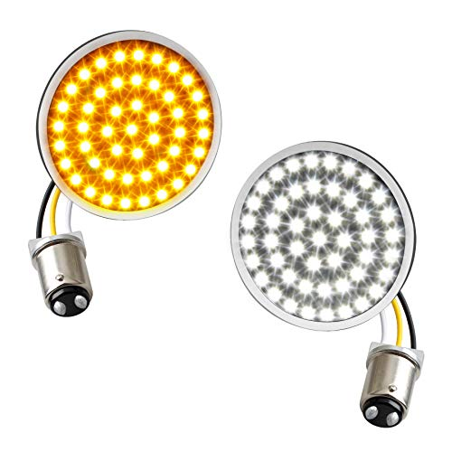 NTHREEAUTO 1157 LED Turn Signals with White Running Light Bullet Style Motorcycle Lights Pannel Compatible with Harley Dyna Sportster Street Glide Road King Softail
