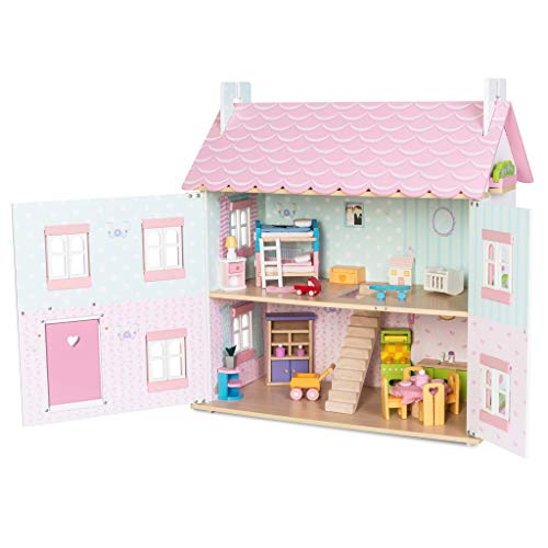 Le Toy Van - Sophie's Large Wooden Doll House | Wooden Dolls House Play Set - Suitable For Ages 3+