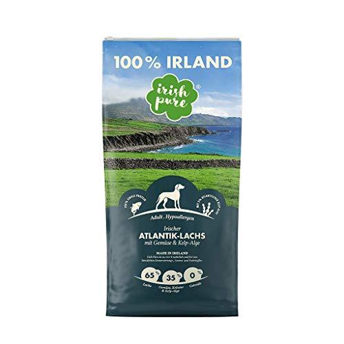Irish Pure Adult Atlantik-Lachs mit Kelp-Alge & Gemüse - Hypoallergenes Trockenfutter für Hunde, Hoher Fleischanteil, Getreidefrei, Sensitiv, Hundetrockenfutter, Hundefutter für alle Rassen (12kg)