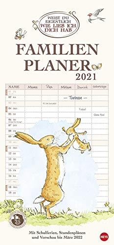 Weisst Du eigentlich, wie lieb ich Dich hab - Familienplaner - Kalender 2021 - Heye-Verlag - Familienkalender - Mit 5 Spalten mit Schulferien - 21 cm x 45 cm