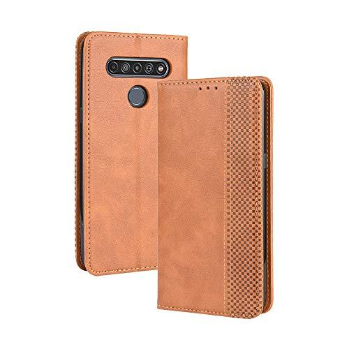 LAGUI Kompatible für LG K61 Hülle, Leder Flip Hülle Schutzhülle für Handy mit Kartenfach Stand & Magnet Funktion als Brieftasche, braun