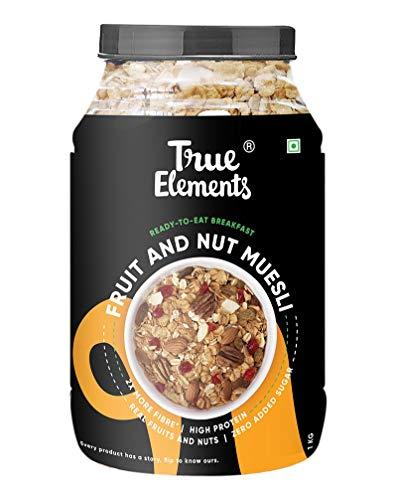 True Elements Muesli Fruit and Nut 1kg - With Real Fruits | Cereal for Breakfast | 100% Wholegrain Muesli