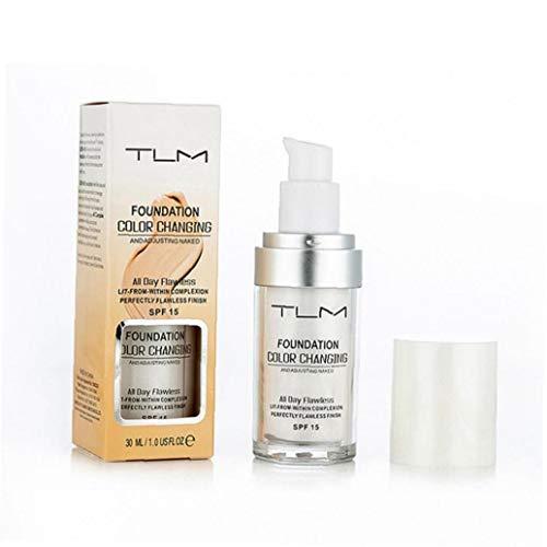 Odoukey Fundación de una Crema hidratante decoloración Fundación hidratante Maquillaje Líquido viscoso Ligera Encubrimiento de Base