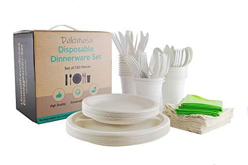 Dakimasu Einweggeschirr-Set - 130 teilig - Komplettes Party und Picknick Set inklusive Teller, Löffel, Gabel, Messer, Trinkbecher, Tücher, Tischdecken - Kompostierbar, Umweltfreundlich aus Bagasse