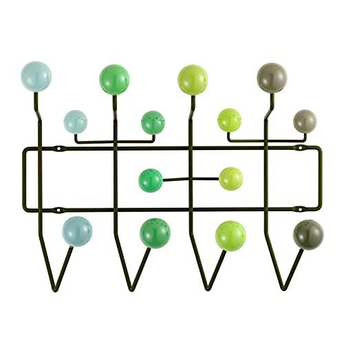 Vinbcorw Appendiabiti colorato dal Design Moderno Lucido, Appendiabiti con 14 Ganci, Montaggio a Parete, Fornito con tasselli, Staffa in Metallo e Sfera in Legno,B